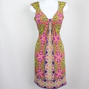 London Times purple green floral drape front dress